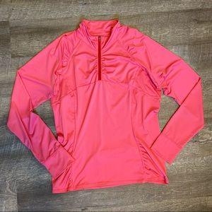 Athleta Pink Ruched 1/4 Zip Top Large